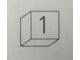 Part No: Mx1011Apb92  Name: Modulex Tile 1 x 1 with Dark Gray '1' Pattern (Thin Font)
