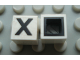 Part No: Mx1011Bpb23  Name: Modulex Tile 1 x 1 with Black 'X' Pattern (with black lining on sides only)
