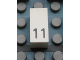 Part No: Mx1021Apb30  Name: Modulex Tile 1 x 2 with Black Calendar Day Number '11' Pattern
