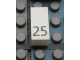 Part No: Mx1021Apb44  Name: Modulex Tile 1 x 2 with Black Calendar Day Number '25' Pattern