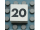 Part No: Mx1022Apb123  Name: Modulex Tile 2 x 2 with Black Calendar Week Number '20' Pattern