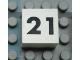 Part No: Mx1022Apb124  Name: Modulex Tile 2 x 2 with Black Calendar Week Number '21' Pattern