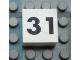 Part No: Mx1022Apb134  Name: Modulex Tile 2 x 2 with Black Calendar Week Number '31' Pattern