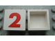 Part No: Mx1022Apb224  Name: Modulex Tile 2 x 2 with Red '2' Pattern (no internal support)