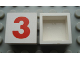 Part No: Mx1022Apb225  Name: Modulex Tile 2 x 2 with Red '3' Pattern (no internal support)
