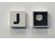 Part No: Mx1022Cpb10  Name: Modulex Tile 2 x 2 with Black 'J' Pattern (Black internal lining with White dot)