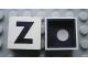 Part No: Mx1022Cpb25  Name: Modulex Tile 2 x 2 with Black 'Z' Pattern (Black internal lining with White dot)