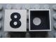 Part No: Mx1022Cpb40  Name: Modulex Tile 2 x 2 with Black  '8' Pattern (Black internal lining with White dot)