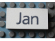 Part No: Mx1042pb44  Name: Modulex Tile 2 x 4 with Dark Gray Month 'Jun' Pattern