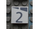 Part No: Mx1022Apb158  Name: Modulex, Tile 2 x 2 with Dark Gray Slopes and Calendar Week Number  '2' Pattern