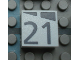 Part No: Mx1022Apb177  Name: Modulex, Tile 2 x 2 with Dark Gray Slopes and Calendar Week Number '21' Pattern