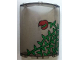 Part No: 30562pb001R  Name: Cylinder Quarter 4 x 4 x 6 with Ivy Plant and Red Flower Open Pattern (Sticker) - Set 7785