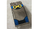 Part No: 46413pb011  Name: Windscreen 8 x 4 x 2 Curved with Locking Dual 2 Fingers with Yellow 'X' and Black and Blue Background Pattern (Stickers) - Set 76022