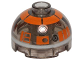 Part No: 553pb026  Name: Brick, Round 2 x 2 Dome Top with Orange with Silver Band around Dome Pattern (R3-S1)