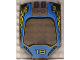 Part No: x224px1  Name: Windscreen 8 x 6 x 2 Curved with 18 and Blue / Yellow Racing Pattern