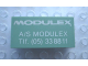 Part No: Mx1042pb38  Name: Modulex, Tile 2 x 4 with 'MODULEX A/S MODULEX Tlf. (05) 338811' Pattern