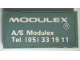 Part No: Mx1042pb53  Name: Modulex Tile 2 x 4 with 'MODULEX A/S Modulex Tel. (05) 33 19 11' Pattern (Sticker)
