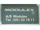 Part No: Mx1042pb53  Name: Modulex Tile 2 x 4 with 'MODULEX A/S Modulex Tel. (05) 33 19 11' Pattern (Sticker)