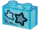 Part No: 3065pb10  Name: Brick 1 x 2 without Bottom Tube with 2 Blue Starfish on Transparent Background Pattern (Sticker) - Set 60266