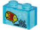 Part No: 3065pb11  Name: Brick 1 x 2 without Bottom Tube with Yellow and Red Fish and Sand Blue Seagrass on Transparent Background Pattern (Sticker) - Set 60266