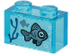 Part No: 3065pb12  Name: Brick 1 x 2 without Bottom Tube with 2 Sand Blue Fish and Dark Blue Seagrass on Transparent Background Pattern (Sticker) - Set 60266