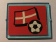 Part No: 3855pb022  Name: Glass for Window 1 x 4 x 3 with Flag of Denmark and Soccer Ball on Red Background Pattern (Sticker) - Set 3407