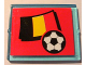 Part No: 3855pb023  Name: Glass for Window 1 x 4 x 3 with Flag of Belgium and Soccer Ball on Red Background Pattern (Sticker) - Set 3407