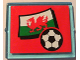 Part No: 3855pb025  Name: Glass for Window 1 x 4 x 3 with Flag of Wales and Soccer Ball on Red Background Pattern (Sticker) - Set 3407