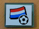 Part No: 3855pb027  Name: Glass for Window 1 x 4 x 3 with Flag of Netherlands and Soccer Ball on White Background Pattern (Sticker) - Set 3405