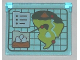 Part No: 60603pb009  Name: Glass for Window 1 x 4 x 3 - Opening with Jurassic World Island Map Pattern