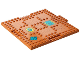 Part No: 15623pb006  Name: Brick, Modified 16 x 16 x 2/3 with 1 x 4 Indentations and 1 x 4 Plate with Wood Grain, Paw Prints, Rugs and Dog Bed Pattern