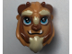 Part No: 25878pb02  Name: Mini Doll, Headgear Mask Beast with Reddish Brown Horns, Blue Eyes with Two White Spots, Fangs and Tan Beard Pattern