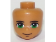 Part No: 33443  Name: Mini Doll, Head Friends Male with Green Eyes, Black Eyebrows and Closed Mouth Smile Pattern