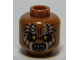 Part No: 3626cpb1016  Name: Minifigure, Head LotR Gundabad Orc White Painted Vertical Lines Pattern - Hollow Stud