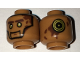 Part No: 3626cpb1662  Name: Minifigure, Head Dual Sided Alien with Silver Eyes, Brown Eyebrows and Splotches / Gold and Black Concentric Circles Pattern - Hollow Stud
