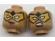 Part No: 3626cpb1767  Name: Minifigure, Head Dual Sided Female Bright Light Orange Eye Mask with White Eye Holes, Smirk / Sneer Pattern - Hollow Stud