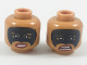 Part No: 3626cpb1984  Name: Minifigure, Head Dual Sided Female, Black Eye Mask, Red Lips, Smile / Scowl Pattern - Hollow Stud