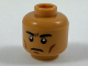 Part No: 3626cpb1993  Name: Minifigure, Head Black Eyebrows, Dark Brown Cheek Lines, Firm Expression Pattern - Hollow Stud