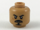 Part No: 3626cpb2136  Name: Minifigure, Head Black Eyebrows, Moustache, and Anchor Beard, Dark Orange Cheek Scar Pattern - Hollow Stud