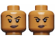 Part No: 3626cpb2155  Name: Minifigure, Head Dual Sided Black Eyebrows, Eyelashes, White Pupils, Smirk / Raised Right Eyebrow, Smile Pattern (Vixen) - Hollow Stud