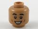 Part No: 3626cpb2186  Name: Minifigure, Head Black Eyebrows, Reddish Brown Cheek Lines, Wide Grin Pattern - Hollow Stud