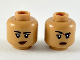 Part No: 3626cpb2362  Name: Minifigure, Head Dual Sided Female, Black Eyebrows, Reddish Brown Lips, Lopsided Grin / Right Eyebrow Raised Pattern - Hollow Stud