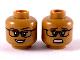 Part No: 3626cpb2422  Name: Minifigure, Head Dual Sided Female Glasses, Dark Brown Eyebrows, Dark Orange Lips Happy / Scared Pattern (Allison Miles) - Hollow Stud