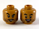 Part No: 3626cpb2442  Name: Minifigure, Head Dual Sided Black Eyebrows and Stubble, Raised Right Eyebrow / Open Mouth Smile Pattern - Hollow Stud