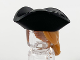 Part No: 67043pb01  Name: Minifigure, Hair Combo, Hair with Hat, Long Hair with Ponytail and Black Tricorne Hat Pattern