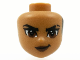 Part No: 72401  Name: Mini Doll, Head Friends with Black Hair on Back, Black Eyebrows with Scar on Left, Reddish Brown Eyes and Lips and Closed Mouth Pattern