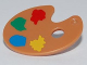 Part No: 93551pb01  Name: Minifigure, Utensil Paint Palette with Yellow, Blue, Green and Red Paint Spots Pattern