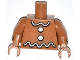 Part No: 973pb1492c01  Name: Torso White Icing and Buttons Pattern (Gingerbread Man) / Medium Nougat Arms with White Icing Stripe / Medium Nougat Hands