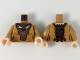 Part No: 973pb3289c01  Name: Torso Female, Dress with Dark Brown Cape and Front Panel, Copper Badger Brooch and Design Pattern / Medium Dark Flesh Arms / Light Flesh Hands