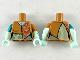 Part No: 973pb3523c01  Name: Torso Female Patchwork Ragdoll Pattern / Light Aqua Arms Short Sleeve and Sand Green Stitching Pattern / Light Aqua Hands